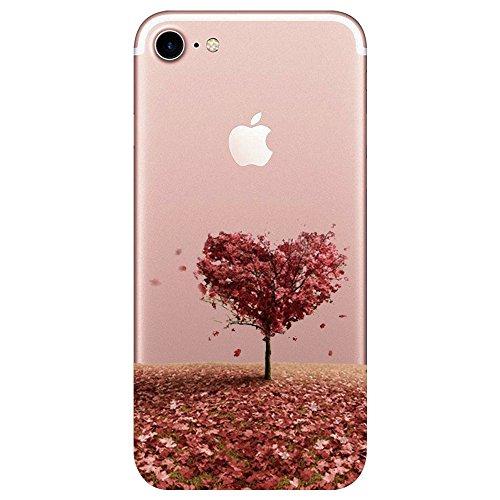 Caler Hülle Kompatibel/Ersatz für iPhone 8/iPhone 7 Hülle Weiche Flexible Silikon Handy Transparente Ultra Slim Gel TPU dünne stoßfeste Tasche Etui Schutzhülle Hülle Cover (Bäume)