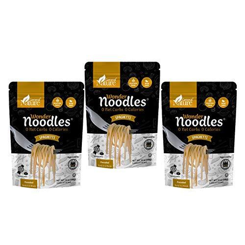 Zero Calorie Wonder Noodles - 3 Pack | Spaghetti | Kosher, Vegan-Friendly, Carb-Free Noodles | No Sugar, No Fat | Ready to Eat Gluten Free Pasta Diet Food | (42oz)