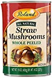Roland Mushrooms, Straw, Whole Peeled, DY WT 8Oz, Net WT 15 Oz (Pack of 8)