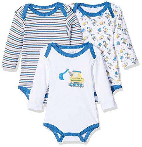 Schnizler Baby-Jungen Langarm, 3er Pack Bagger, Oeko-Tex Standard 100 Body, Blau (original 900), 74 (Herstellergröße: 74/80)
