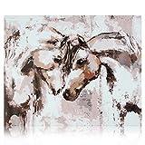 Gronda Pintura por números Adultos DIY Horses Set de Pintura Animales Obras de Arte para el hogar rústica Decoración de Pared Sala de Estar Dormitorio con Accesorios Pluma Pintura Lienzo 40x40 cm