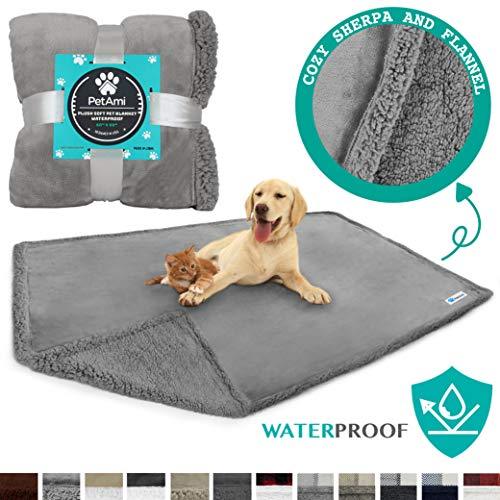 PetAmi WATERPROOF Dog Blanket for Bed, Couch, Sofa   Waterproof Dog Bed Cover for Large Dogs Puppies   Grey Sherpa Fleece Pet Blanket Furniture Protector   Reversible Microfiber   80 x 55 (Light Grey)
