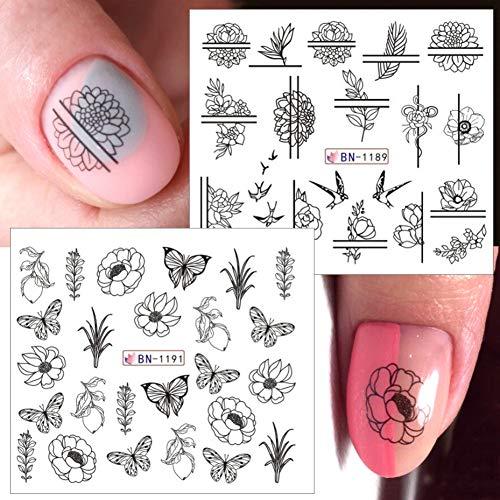 ZHAOZX 12 Stück Schwarze Blumen Slider Silvester Aufkleber für Nägel Full Wraps Aufkleber Wassertransferschieber Gel-Nagellack Maniküre