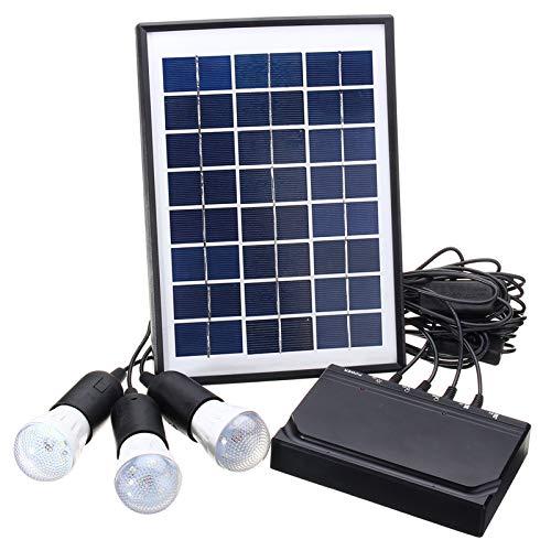 SISHUINIANHUA Panel de energía Solar de Carga Kit de Ventilador de la lámpara de luz LED USB DC para el hogar Acampar al Aire Libre