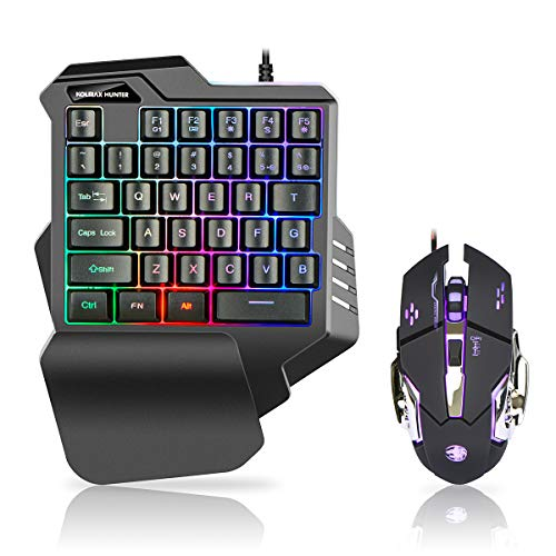 One Hand RGB Gaming Keyboard Mouse Combo,Mechanical Feel RGB LED Backlit Keyboard Gaming Mouse Set for PC, Laptop, Computer