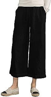 Women's Plus Size Elastic Waist Wide Leg Cropped Pants