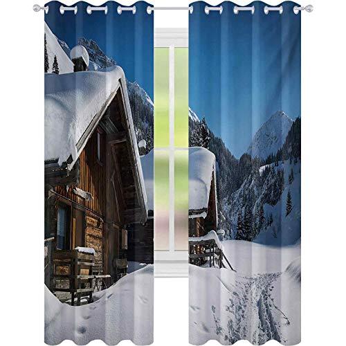 Cortinas con aislamiento térmico, casas de madera en las montañas austriacas, bosque nevado, destino vacacional, 52 x 84 de ancho x sala de estar, dormitorio, ventana, color marrón, azul y blanco