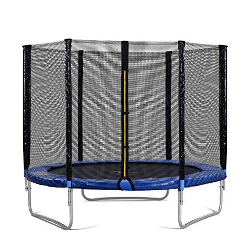 Belissy Cama elástica para exteriores, cama elástica para niños con red de seguridad y barras acolchadas, cama elástica de jardín de 244 cm, soporta hasta 150 kg, ha superado la prueba GS y TÜV (8 FT)
