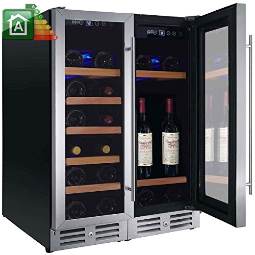 Nevera de vino de 42botellas. Nevera para vinos Nevada yN-NW42D-S 2temperaturas de _ 5°C a _ 22°C Clase energética A Puerta y asa inoxidable botellero refrigerador con cajones (madera maciza)