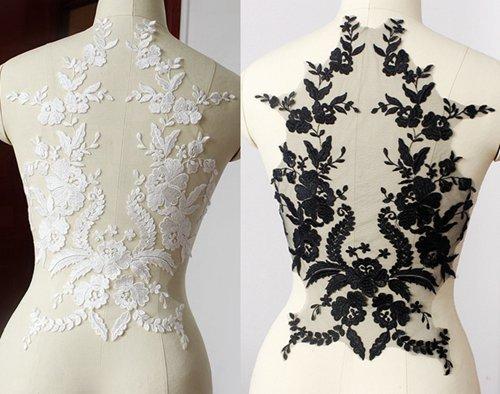 Velo De Novia Black y Off White White Hilo de Encaje Flor...