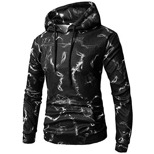YLSMN Herren Schwarzer Pullover mit Kapuze 3D Digit XXXL 3D Print Hoodie Outdoor Uniform Unisex Pullover mit Langen Ärmeln XXXL