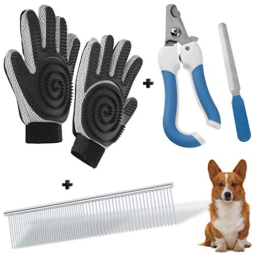 HEPEENG Steel Comb/Pet Nail Clippers/Pet Grooming Glove/Grooming Supplies Great for Dogs Cats wiht Long Short Fur & All Breeds and Hair Types Grooming Set