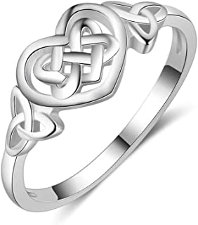 SBI Jewelry Sterling Silver Rings for Women Heart Celtic Knot Ring Birthday Gift for Mom Wife Daughter Grandma, Size 8