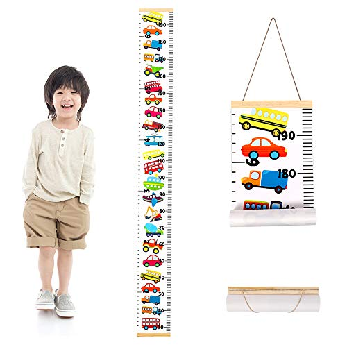 metagio 1 Pack Height Chart for Kids, Wall Hanging Growth Chart Removable Canvas and Wood Measuring Ruler for Baby Girls Boys Toddler Bedroom Nursery Wall Decoration(200X20CM)(Rainbow Car)
