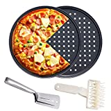 """4 Pcs Pizza Crisper Pan Set - 2 Pack 12.6"""" Pizza Pan with Holes with Pizza Dough Roller Docker Cooking Tongs Pizza Tray"""
