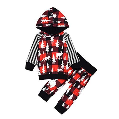 Hui.Hui Bébé Vêtements 2 Pièces Tenues,Garçon Santa Claus Ensemble Hiver Sweat-Shirt à Manches Longues Cerf Imprimé Pullover Tops Blouse et Pantalon à Carreaux
