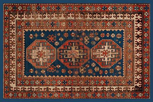 Centesimo Web Shop Tappeto Classico Riproduzione Stampato Antiscivolo Tappeto Antico Kazaki Azerbaïdjan Russo Blu - Blu - 58x122 cm
