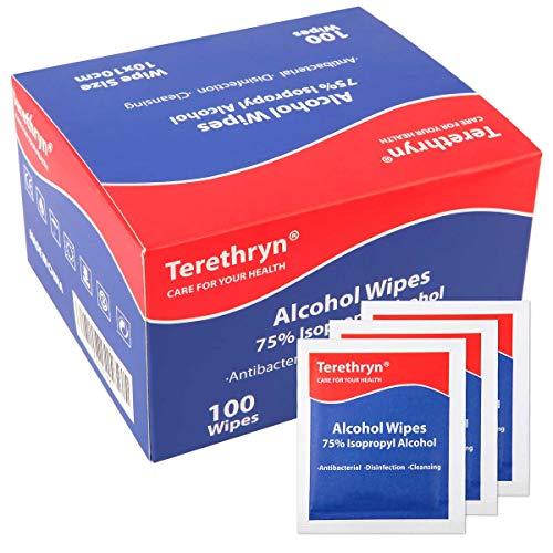 Toallitas Desinfectantes 75% Alcohol Isopropilico Toallitas Desinfectante Superficies, Toallitas de limpieza envueltas individualmente, Paquete de 100