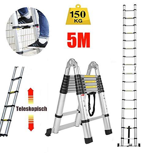 5m Teleskopleiter Mehrzweckleiter (2,5m+2,5m) Klappleiter für Dachboden/Kletterdach/Büronutzung/Baujob Ausziehbar Aluleiter Rutschfeste Stufen 150 Kg Belastbar