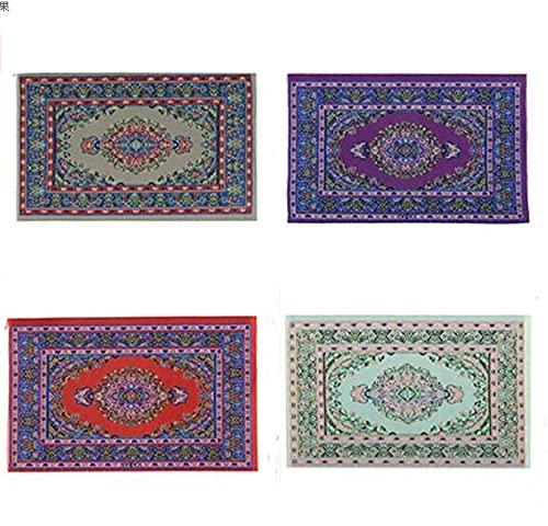 DERCLIVE Dolls hus matta 4 st 10 x 15 cm mini turkiska mattor filt för dockor hus golvdekoration