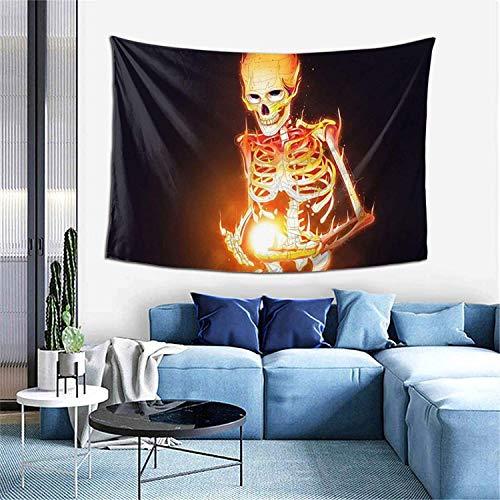 Tapiz para decoración de pared, diseño de esqueleto humano de fuego, para colgar en la pared, mantel extragrande de 152 x 106 cm, para dormitorio, sala de estar, dormitorio, decoración del hogar