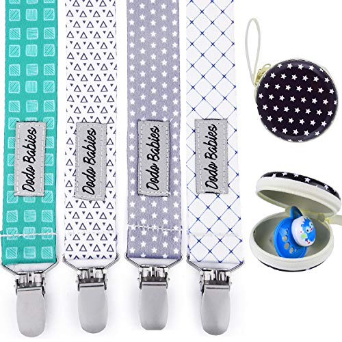 Pacifier Clip by Dodo Babies Pack of 4 + Pacifier Case, PremiumQuality for Boys and Girls Modern Designs Universal Holder Leash for Pacifiers, Teething Toy, Baby Shower Gift Set