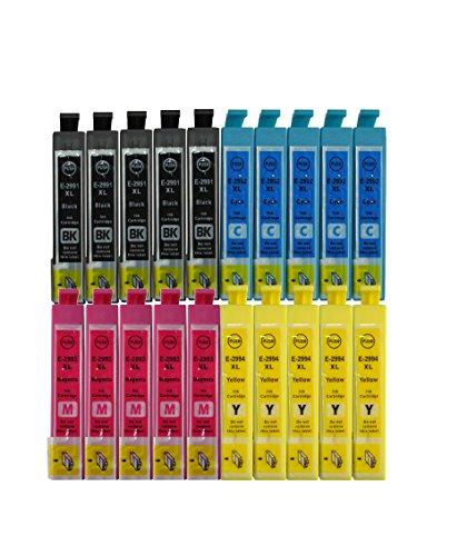 Cartuchos de tinta con chip de 3color® para Epson Expression Home XP-235 XP-245 XP-247 XP-332 XP-335 XP-342 XP-345 XP-432 XP-435 XP-442 XP-445, color 20x= 5bk+5c+5y+5m