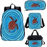 Juego de mochila para adolescentes de 15 pulgadas, juego de bolsas escolares circulares de dibujos animados para trabajo, escuela, viajes, picnic