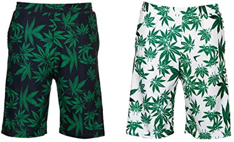 HAIYOUVK Hit color printing temperament white couple swimwear male swim trunks beach pants
