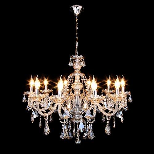 Samger Samger Luxuriöse 10 Arm Kronleuchter K9 Kristallglas Deckenleuchte Pendelleuchte Cognac Farbe für Wohnzimmer Schlafzimmer Flur Eintrag - 3