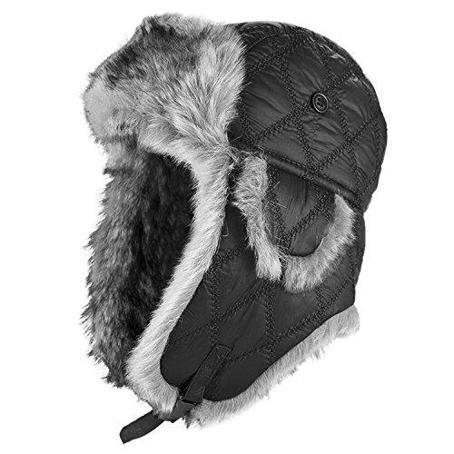 Bonnet de pilote - Pour l'hiver - Fourrure synthétique ou polaire synthétique S Noir