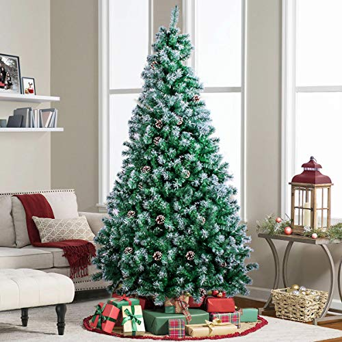 Frigg 6.9ft Artificial Christmas Tree, Flocked Snow Trees with 950 Branch Tips,Pine Cones and Foldable Metal Stand