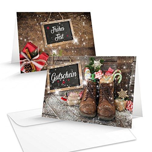 5 Stück Weihnachtsgutschein SCHUHE rot grün braun vintage Gutschein weihnachtlich für Kunden Mitarbeiter Freunde als Geschenk zu Weihnachten MIT KUVERT B6 zum Aufklappen