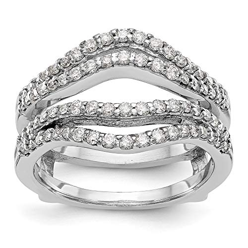 14ct White Gold Diamond Guard Ring, Size O