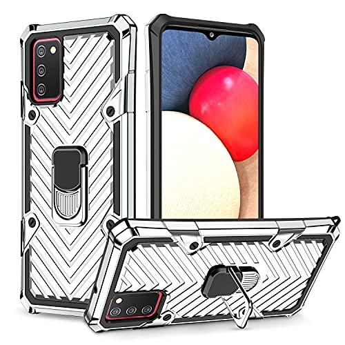LUSHENG Compatible con Funda Galaxy A02s (EU), Funda Resistente Prueba Golpes Doble Capa para Samsung Galaxy A02s (EU), Soporte Integrado - Plata