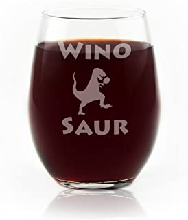 Funny Engraved Stemless Wine Glass - Wino Saur