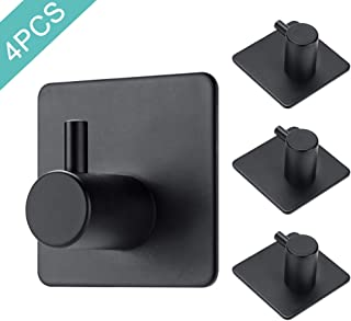 DGWHYC Wall Hooks Adhesive, Towel Hooks for Bathrooms 304 Stainless Steel Waterproof and Rustproof, 3 M Heavy Duty 12lbs no Drilling (4pcs, Matte Black)