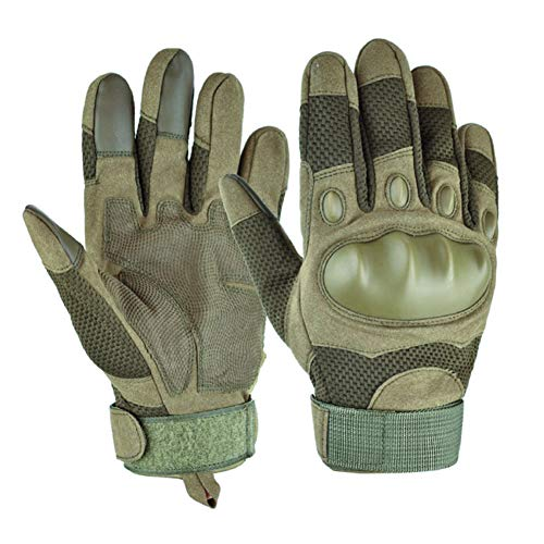 Motorradhandschuhe Sommer Herren Taktische Handschuhe Atmungsaktiv Touchscreen Vollfinger Motorcross Sport Handschuhe für Motorrad Fahrrad und Outdoor Aktivitäten(Armeegrün,L)