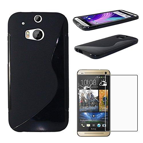 ebestStar - Funda Compatible con HTC One M8 2014 Carcasa Gel Silicona Gel TPU Motivo S-línea, S-Line Case Cover, Negro + Cristal Templado Protector Pantalla [Aparato: 146.4 x 70.6 x 9.4mm, 5.0'']