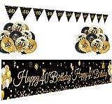 APERIL 40 Geburtstag Dekoration Schwarz Gold für Frau Mann, Geburtstagsdeko Banner Luftballons Schwarz Gold Konfetti Luftballons Geburtstags Wimpelkette Flagge 40. Geburtstag Party Deko