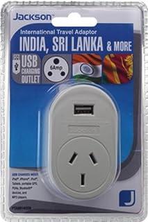 Jackson Outbound Travel Adaptor w/USB - India, (PTA8814USB)
