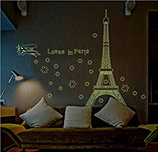 Amaonm Glow in the Dark Wall Decal Loves in Paris Eiffel Tower Fluorescent Luminous Stickers Glow in the Dark Wall Decals for Wedding Decorative Home Decor Luminous Stickers for Baby's Room Bedroom Living Room Decor Sofa Tv Background DIY Art Decals (Loves in Paris)