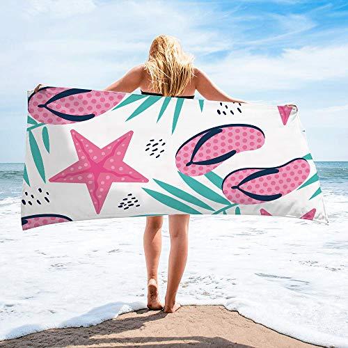 Surwin Toalla de Playa Grande, Microfibra Hawai Impresión Secado Rápido Toalla de Piscina Toalla de Arena Antiadherente para Verano Playa, Yoga, Picnic, Hotel (Estrella de mar,80x160cm)