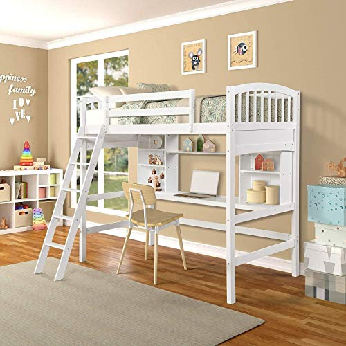 Twin Size Loft Bed Frame Wood With Desk and Book Shelf for Kids Teens, Low Study with Guard Rail and Ladder for Teenagers Bedroom Solid Pine with Shelves,Ship from America Local Warehouse