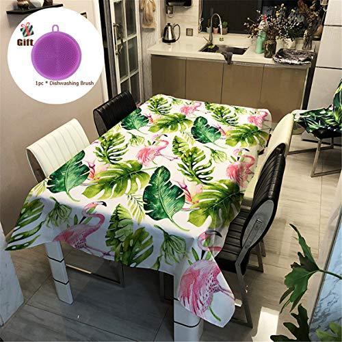 Treer Tischtuch Pflegeleicht, 3D Polyester wasserdichte Rechteckige Tischdecke Abwaschbar Pflegeleicht Eckig Halloween Schmutzabweisend Lotuseffekt Effekt (90x90cm,Flamingo)