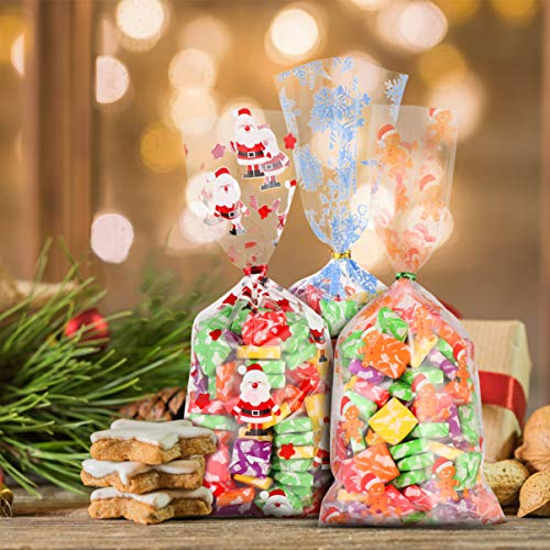 OUNONA キャンディーバッグ 菓子パン用個袋 業務用 結婚式 誕生日 パーティー お菓子 クッキー チョコレ ート 包装用品 小分け 200枚入り ツイストタイ300枚付き