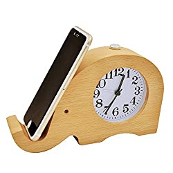 ECVISION Wooden Alarm Clocks, Silent Desk Clock Elephant Digital Alarm Clock with Cell Phone Stand and Night Light for Kids, Bedrooms, Home, Dormitory, Travel