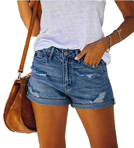 LIXILI Mujeres Casuales deshilachados destruyen Bermudas Denim Rompe Short Jeans,Light Blue,M