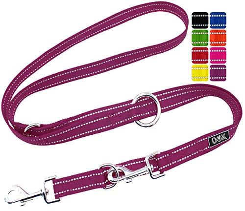 DDOXX Hundeleine Nylon, reflektierend, 3fach verstellbar, 2m | für kleine & große Hunde | Doppel-Leine Zwei Hund Katze Welpe | Schlepp-Leine | Führ-Leine | Lauf-Leine Welpen-Leine | S, Lila Violett