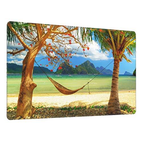 Alfombrilla de ratón Grande para Juegos,Playa Hawaii Paisaje Océano Isla Tropical Coco Estilo exótico,Base de Goma Antideslizante,Adecuada para Jugadores,PC y portátil(80 x 30cm)